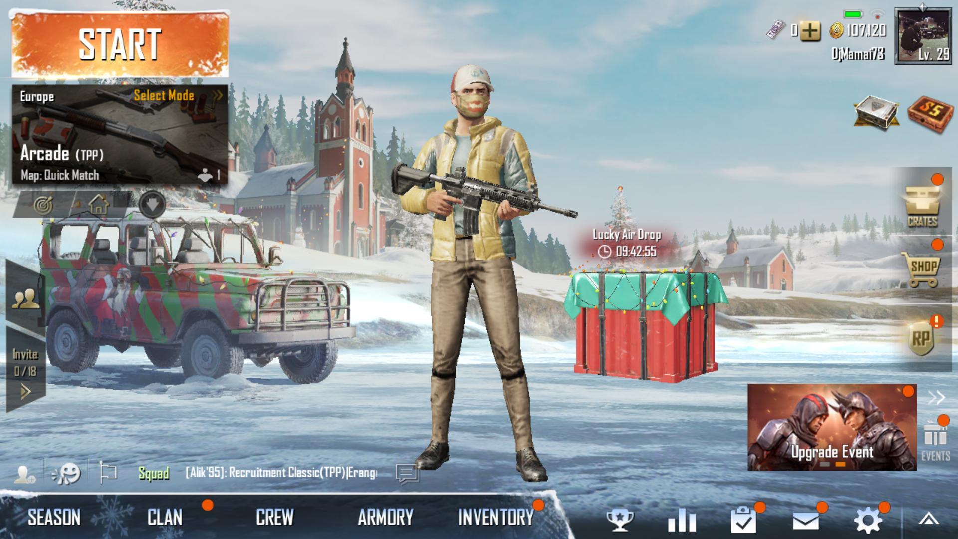 Главное меню pubg mobile
